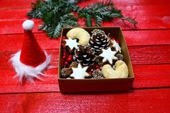 Wonderful christmas decoration with delicious christmas cookies stock photography