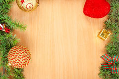 Wonderful Christmas decoration with fir tree and ornamentals  Royalty Free Stock Images