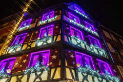 Wonderful Christmas highlighting in Colmar, Alsace, France. Stre Royalty Free Stock Photo
