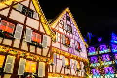 Wonderful Christmas highlighting in Colmar, Alsace, France. Stre Stock Photos