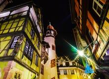 Wonderful Christmas highlighting in Colmar, Alsace, France. Stre Stock Photos