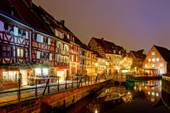Wonderful Christmas highlighting in Colmar, Alsace, France Stock Photos