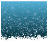 Wonderful Christmas ice flower with stars background. Wonderful blue Christmas vector landscape with snowfall stars and ice flowers Stock Image