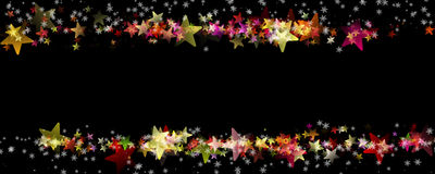 Wonderful Christmas panorama background design. With snowflakes, stars and space for your text Royalty Free Stock Photo