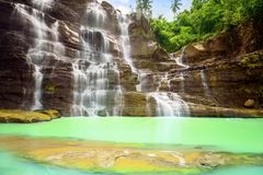 Wonderful Cigangsa waterfall in tropical forest. Wonderful Cigangsa waterfall landscape in the tropical forest at Sukabumi, Indonesia royalty free stock photo