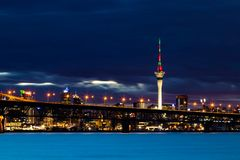 Auckland Sky Tower Night Time. The wonderful city of Auckland a night with the sky tower lights Royalty Free Stock Photography