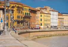 The wonderful city center of Pisa with River Arno - PISA ITALY - SEPTEMBER 13, 2017 Stock Photos