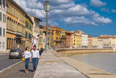 The wonderful city center of Pisa with River Arno - PISA ITALY - SEPTEMBER 13, 2017 Royalty Free Stock Photo