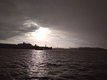 wonderful city on the Neva.  view of the Spit of Vasilyevsky Island royalty free stock photo