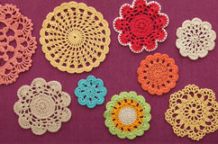 The wonderful colored crochet doilies Royalty Free Stock Photography