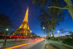 Wonderful colors of Eiffel Tower at Night Royalty Free Stock Photography