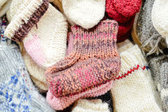 Wonderful comfy handicraft knitted socks Royalty Free Stock Images