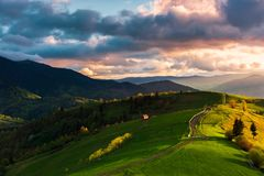Wonderful countryside in mountains at sunset stock photography