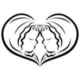 A wonderful couple creating a heart, newborn babies, twins stock illustration