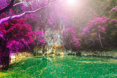 Wonderful crater lagoon in thailand, lom pu keaw lagoon lampang Royalty Free Stock Photo