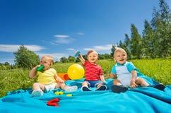 Wonderful cute toddlers sit on blanket in field Royalty Free Stock Image