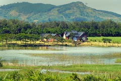 Wonderful Dalat villas close to nature. Wonderful Dalat countryside with amazing villas that close to nature when place among river, forest and mountain Royalty Free Stock Photos