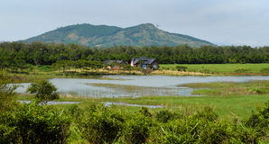 Wonderful Dalat villas close to nature. Wonderful Dalat countryside with amazing villas that close to nature when place among river, forest and mountain Stock Photos