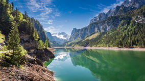 Wonderful dawn at mountain lake in Gosau, Alps Royalty Free Stock Images