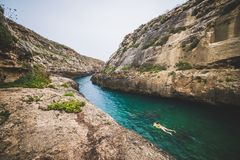 Wied Il Ghasri, Gozo royalty free stock photography