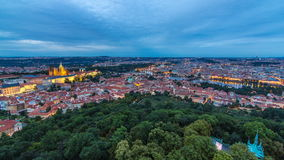 Wonderful day to night timelapse View To The City Of Prague From Petrin Observation Tower In Czech Republic stock video