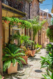 Wonderful decorated street in small town in Italy, Umbria royalty free stock image