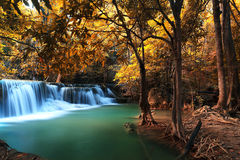 Autumn Deep Forest Waterfall in Kanchanaburi Stock Photos