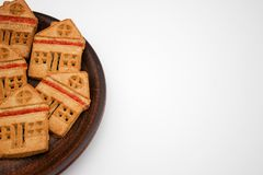 Wonderful And Delicious Cookies With Marmalade In The Form Of A One-Story House. Copy Space stock photography