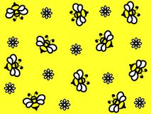 Wonderful design of beautiful bees on a yellow background. For different needs Stock Illustration