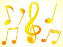 Wonderful design of golden musical notes on a white background. For different needs Royalty Free Stock Image