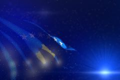 Pretty labor day flag 3d illustration - modern picture of Kosovo flag of dots waving on blue - selective focus and space for royalty free illustration