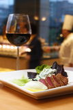 Wonderful dinner. Beef and red wine at an Wonderful night Stock Photography