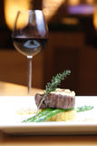 Wonderful dinner. Beef and red wine at an Wonderful night Royalty Free Stock Images