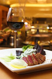 Wonderful dinner. Beef and red wine at an Wonderful night Stock Images