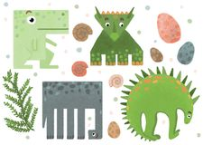 Set of geometric funny dinosaur stickers royalty free illustration