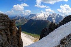 Wonderful dolomite mountains scenry / marmolada and sella mountain group Royalty Free Stock Photos