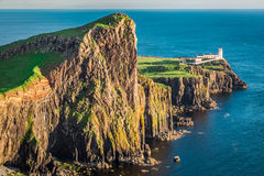 Wonderful dusk at the Neist point lighthouse in Isle of Skye, Scotland Stock Photo