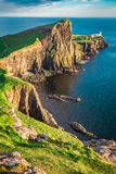 Wonderful dusk at the Neist point lighthouse in Scotland. Europe Stock Photo