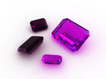 Wonderful emerald cut amethyst gems Royalty Free Stock Images