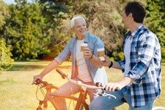 Wonderful energetic men having some coffee Royalty Free Stock Images