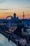 Wonderful evening cityscape of Helsinki, Finland stock photography