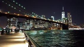 Wonderful evening shot of New York with Brooklyn Bridge  - videoclip Manhattan New York   APRIL 25,  2015. Wonderful evening shot of New York with Brooklyn stock footage
