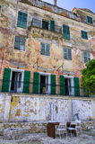 Wonderful facade of an old mansion in Gaios village, Paxoi island, Greece Royalty Free Stock Photo