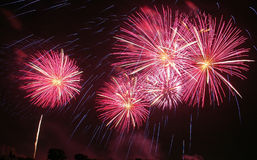 Wonderful Fireworks in thailand. Fireworks is beautiful in Thailand Stock Photo