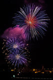 Wonderful fireworks on the village Royalty Free Stock Images