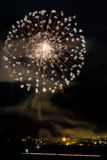 Wonderful fireworks on the village Stock Photos