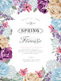 Wonderful floral poster design. With diverse flowers frame Stock Photos