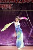 Wonderful folding fan dance of beauty Stock Image