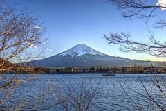 Wonderful Fuji mountain in winter. Shoot from lake side Royalty Free Stock Images