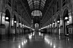 The wonderful Gallery. Black and white photograph about one of most popular and touristic place in Italy the Vittorio Emanuele Building- Milano. Image show this royalty free stock photos